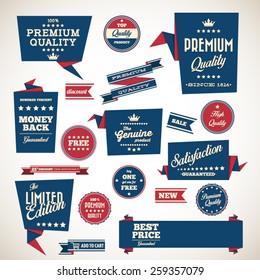 Origami vintage labels set.Vector design elements