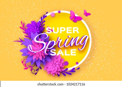 Origami violet Super Spring Sale Flowers Banner. Butterfly. Paper cut Floral card. Spring blossom. Happy Womens Day. 8 March. Text. Seasonal holiday on yellow. Flyer, voucher discount.