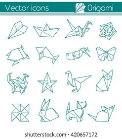 Origami,paper folding art, Vector icons.