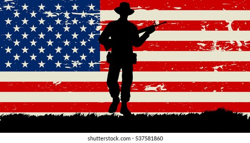 Original 1960's American soldier illustration and US grunge flag