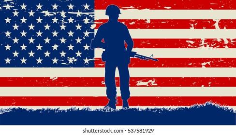Original 1960's American soldier illustration and US grunge flag