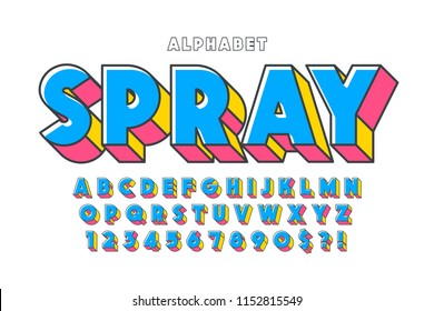 Original 3d display font design, alphabet, letters and numbers. Swatch color control