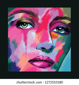 Original abstract art contemporary digital painting portrait of a woman face,  perfect for interior design, page decoration, web and other: vector illustration