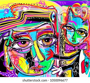 original abstract digital painting of human face with a cat, colorful composition in contemporary modern art, perfect for interior design, page decoration, web and other, vector illustration