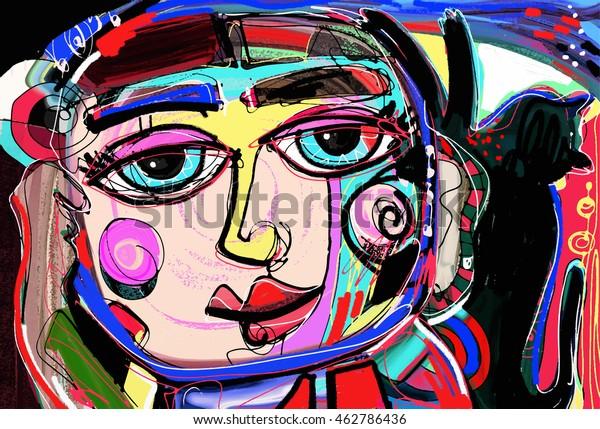 Original Abstract Digital Painting Human Face Stock Vector