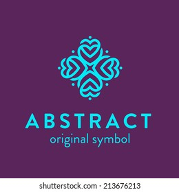 Original abstract multipurpose universal symbol, icon, logo template consisting of heart shapes