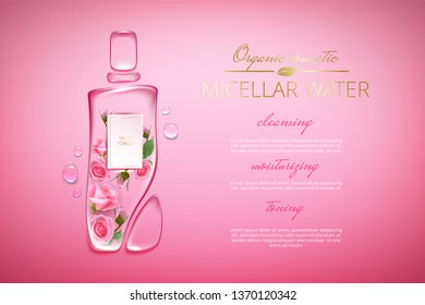 Original advertising poster design with water drops and liquid packaging silhouette for catalog, magazine. Cosmetic package.Moisturizing toner, micellar water with rose extract