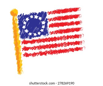 Original American Flag Drawn in a Sketch Style Isolated on White