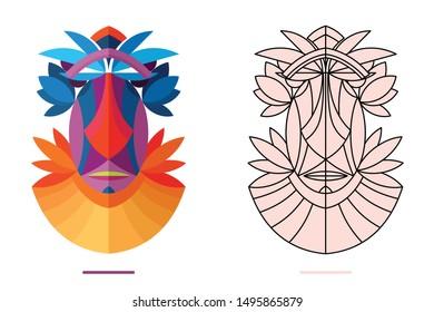 original authentic decorative mask line-art and flat colors views