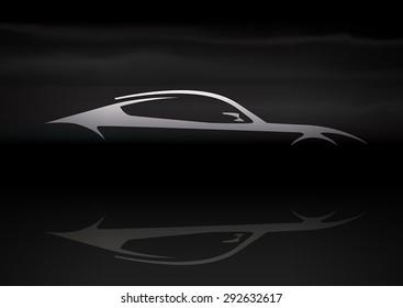 Original auto vehicle vector illustration design of a fast conceptual super car silhouette on black background