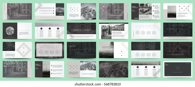 Original black and white Presentation templates or corporate booklet.  Easy Use in creative flyer and style info banner, trendy strategy mockups.  Simple modern Slideshow or Startup. ppt.