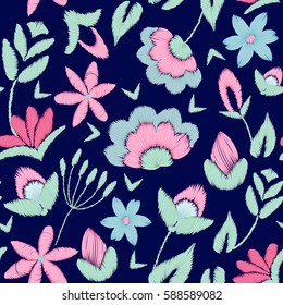 original, bright, trendy seamless pattern. Styling for embroidery, rich ornamentation of beautiful flowers. Ideal for use in textile products. fashionable ethnic, boho patch