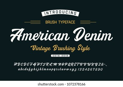 Original Brush Font. Vintage Style. Typeface. Vector