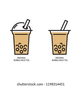 Original bubble milk tea, simple flat design. Isolate on white background.