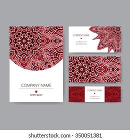 Original business set decorated with hand drawn ethnic lace mandala pattern. Vector background. Indian, Arabic, Islam motifs. Includes brochure, menu or invitation cover and business card designs.