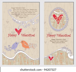 Original cards in a retro style with birds, hearts and a place for your information to Valentine's Day.