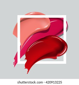 Original Collection of various Smears lipstick  poster over square frame vector.  Perfect design for headline, logo and banner.