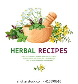 Original color illustration of medicinal herbs in clay mortar with pestle for decorating herbal recipes vector illustration