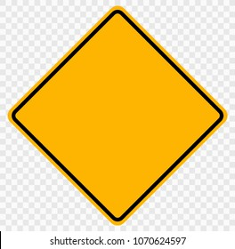 Original Color Road Sign Yellow Square Blank , Isolated on Transparent Background,Vector Illustration EPS10