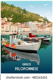 Original color sketch hand drawing of Gytheio, Peloponnese, Greece, travel card, vector illustration
