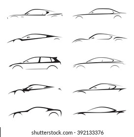 Original concept supercar, sports car and sedan motor vehicle silhouette collection set on white background. Vector illustration.