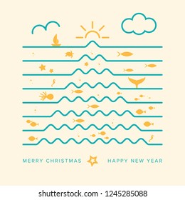 Original and Creative Christmas Card, Inspired by Marine Life and Summer. Christmas Tree Made Up Of Waves. Square Format. Vector Illustration. EPS10 with Layers for Easy Editing.