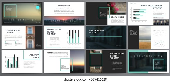 Original dark black Presentation templates or corporate booklet.  Easy Use in creative flyer and style info banner, trendy strategy mockups.  Simple modern Slideshow or Startup. ppt.