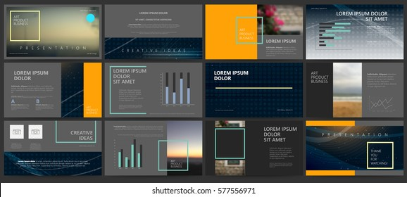 Original dark Presentation templates or corporate booklet.  Easy Use in creative flyer and style info banner, trendy strategy mockups.  Simple modern Slideshow or Startup. ppt.