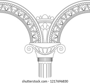 original designed arch, antique architecture, vector illustration, isolated architectural element on white background