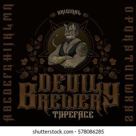 Original devil brewery typeface. Retro font set with hops ornament, devil and pentagram for making label design.