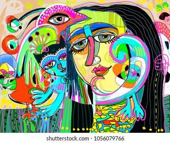 original digital art composition of women face, bird and red cat, contemporary modern art painting vector illustration