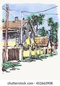 original digital graphic of village composition with houses and trees on watercolor background, freehand sketch vector illustration