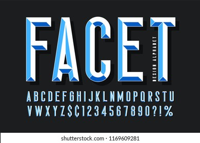 Original display font with facets, alphabet, letters and numbers. Swatch color control