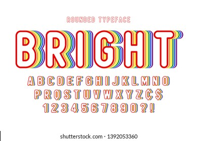 Original display rainbow font design, alphabet, letters and numbers. Swatch color control