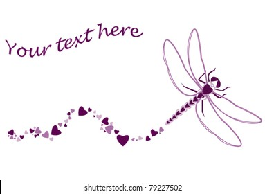 Original dragonfly made of heart shapes with fly path in purple colored hearts, perfect simple border for wedding invitation of Valentine's day card.