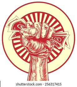 An original drawing of a fist holding money in a vintage propaganda wood cut style