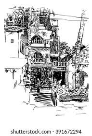 original drawing of India Goa Calangute Baga landscape point-of-sale street, travel sketch, touristic postcard or poster, vector illustration