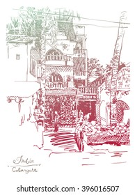 original drawing of India Goa Calangute Baga landscape point-of-sale street, travel sketch, touristic postcard or poster, vector illustration