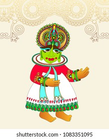 original drawing of traditional indian kathakali dancer to onam holiday design and travel card, vector illustration