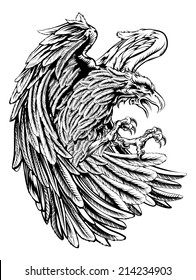 An original eagle illustration  in a vintage wood cut style