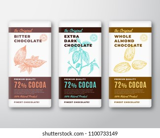 The Original Finest Chocolate Abstract Vector Packaging Design Label. Modern Typography and Hand Drawn Cocoa Branch with Leaves and Bean and Almond Nuts Sketch Silhouette Background Layout. Isolated.