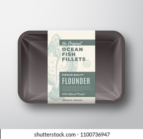 The Original Fish Fillets Abstract Vector Packaging Design Label on Plastic Tray with Cellophane Cover. Modern Typography and Hand Drawn Flounder Flatfish Silhouette Background Layout. Isolated.