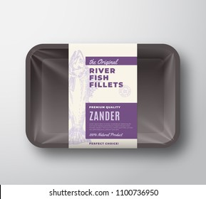 The Original Fish Fillets Abstract Vector Packaging Design Label on Plastic Tray with Cellophane Cover. Modern Typography and Hand Drawn Zander Pikeperch Silhouette Background Layout. Isolated.