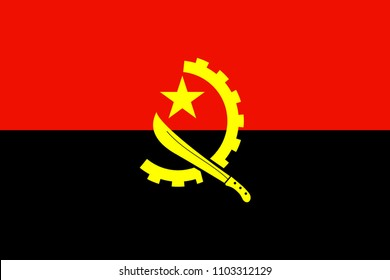 The Original Flag of Angola,Vector Illustration The Color of the Original, Official Colors and Proportion Correctly,Correct Size, Isolate White Background Label .EPS10