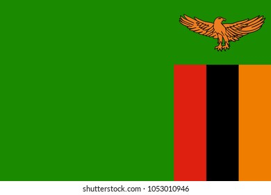 The Original Flag of Zambia,Vector Illustration The Color Of The Original,  Official Colors and Proportion Correctly, Isolate White Background Label .EPS10