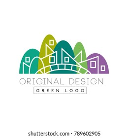 Original flat landmark with green park, bridge and linear buildings. Creative vector design for company logo, booklet, flyer or promotional poster