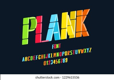 Original font made up of line segments for printing, banners, postcards. Vector Illustration