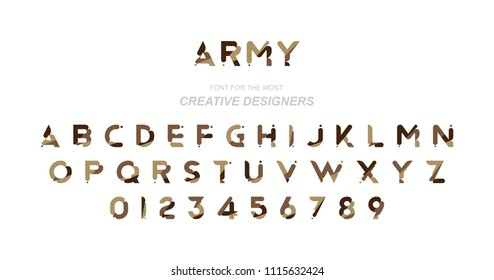 Original font a set of letters and numbers in camouflage for creative design template. Flat illustration EPS10.