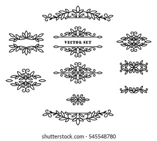 Original frames and scroll elements. Floral linear border design elements. Flourishes Calligraphic ornaments and frames.
