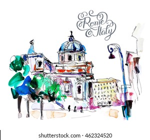 original freehand watercolor travel card from Rome Italy with hand lettering inscription, old italian imperial building, travel book illustration